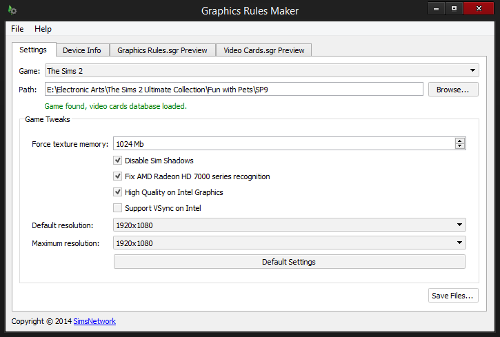 Graphics Rules Maker - Tweaks enabled