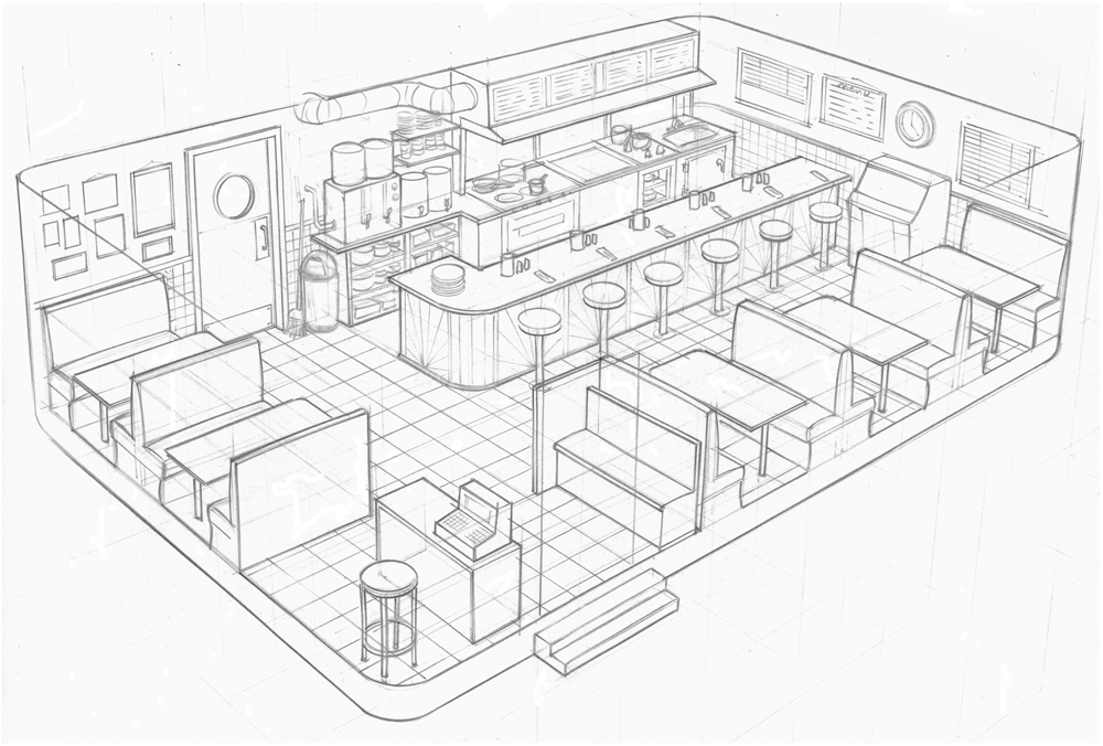 Linework concept art from nightlife snw simsnetwork