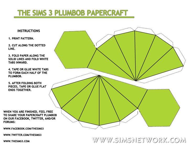 plumbob papercraft snw simsnetworkcom