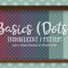 Basics Medium Translucent Dots Wallpaper with Kick and Crown Moulding in Medium Wood