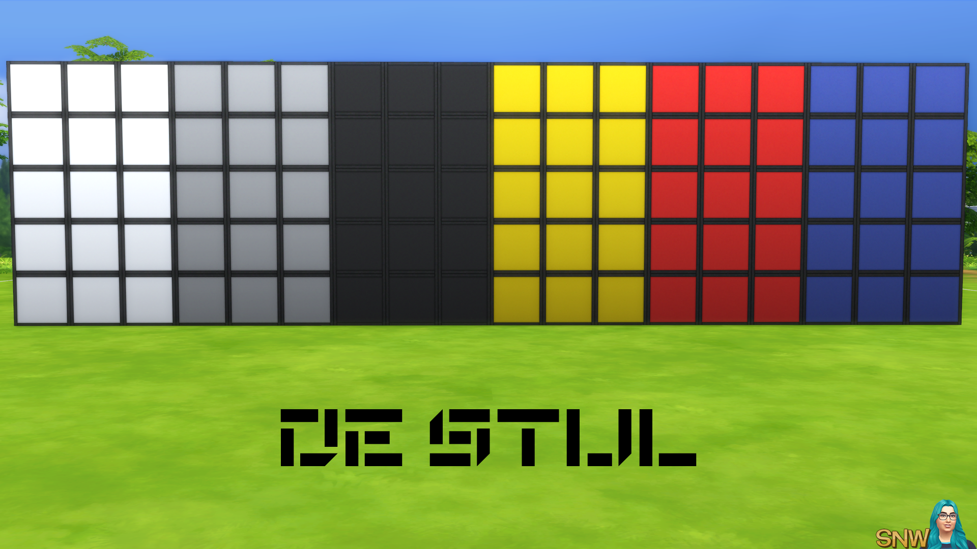 De Stijl Walls for The Sims 4