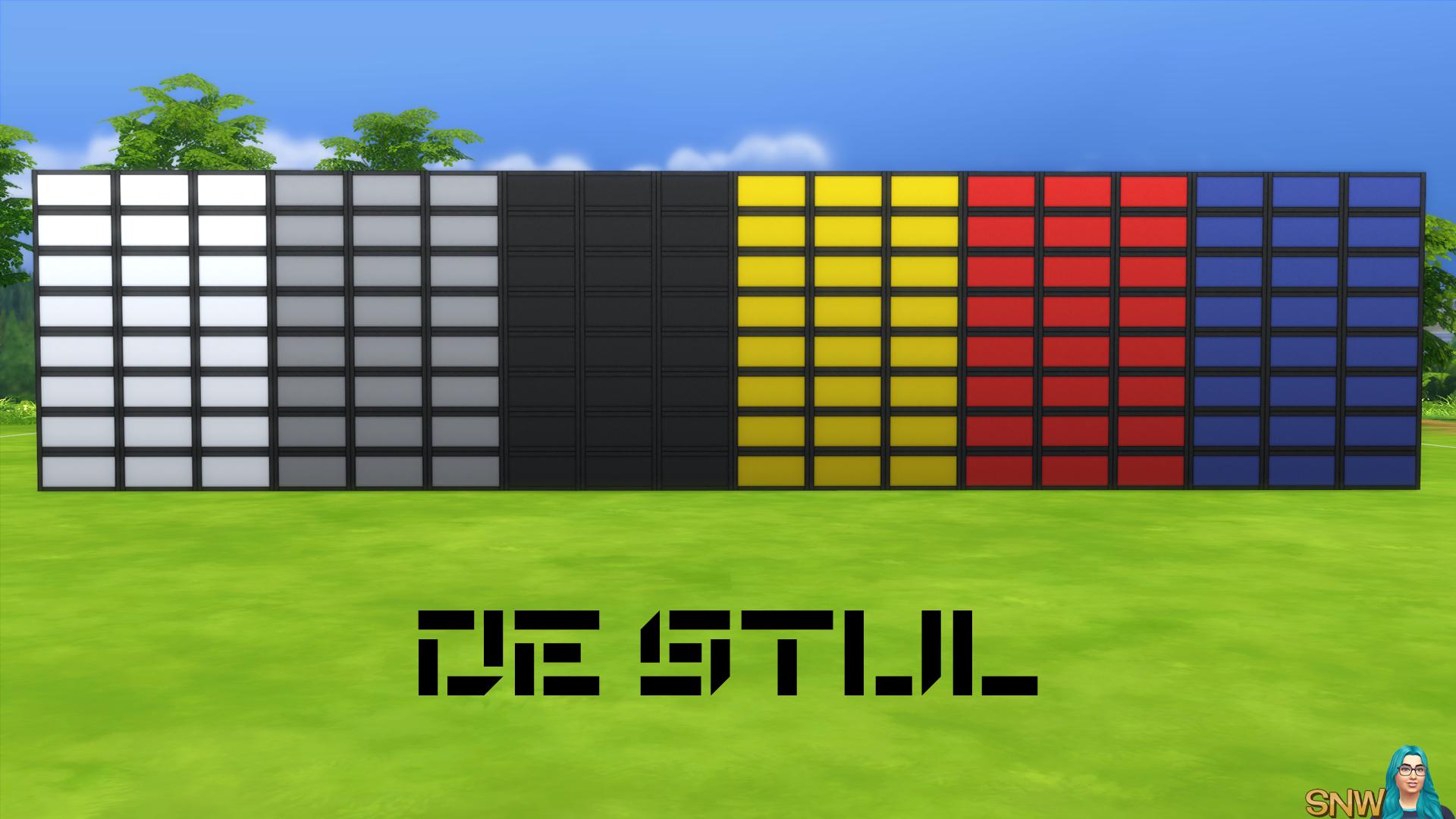 De Stijl Walls for The Sims 4