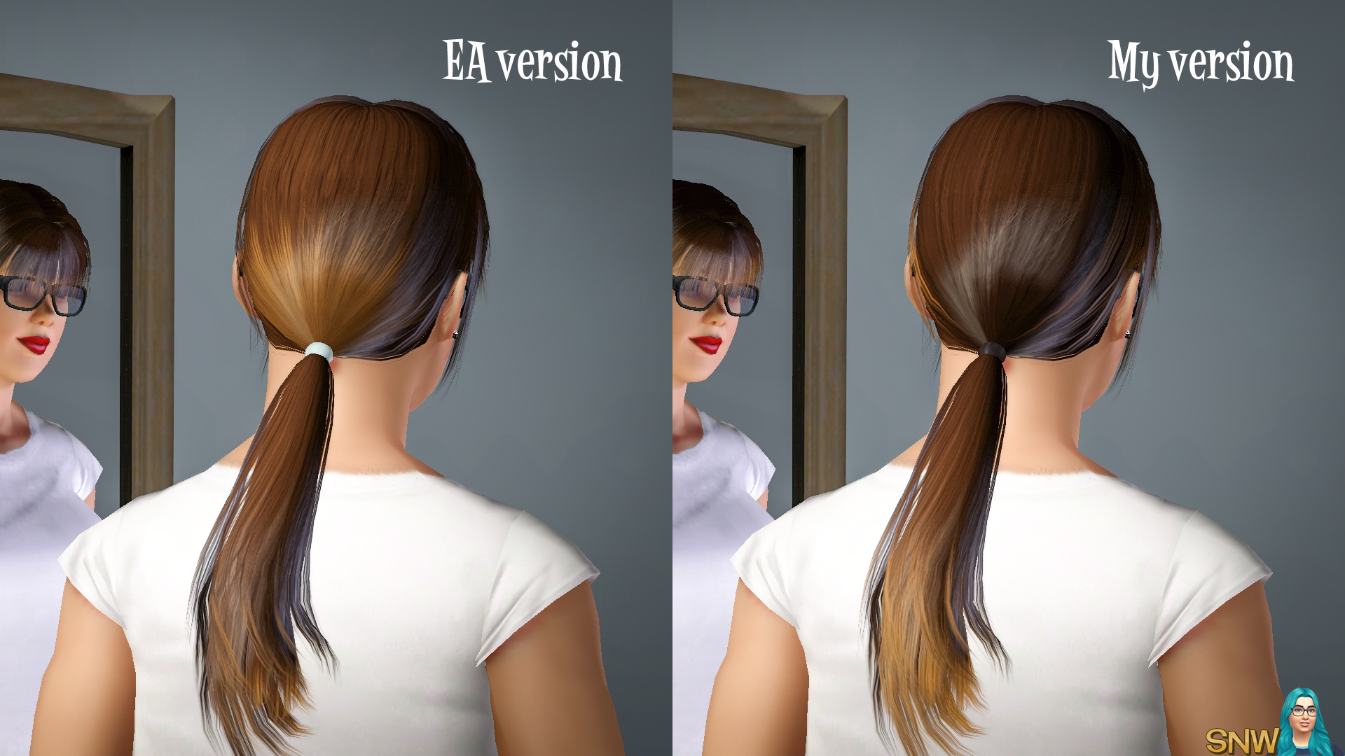 Ombre ponytail with bangs hairdo