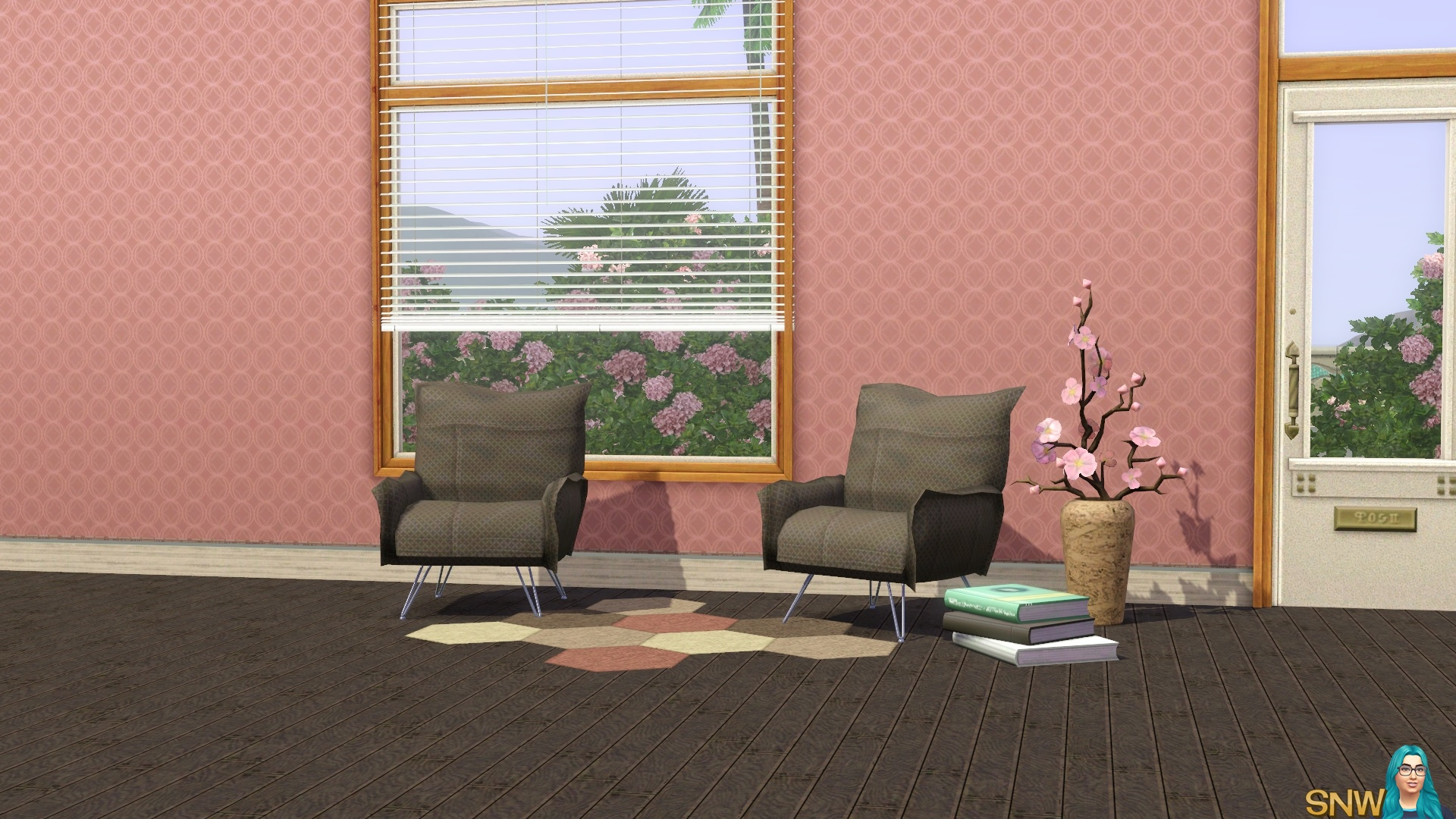 Spring Fling Retro pink wallpaper