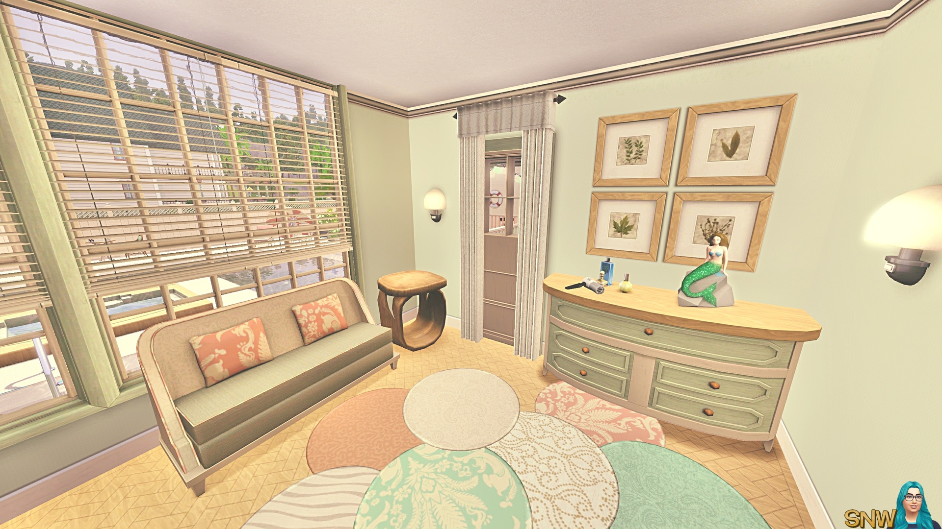 Minty & Peach Beach House | SNW | SimsNetwork.com