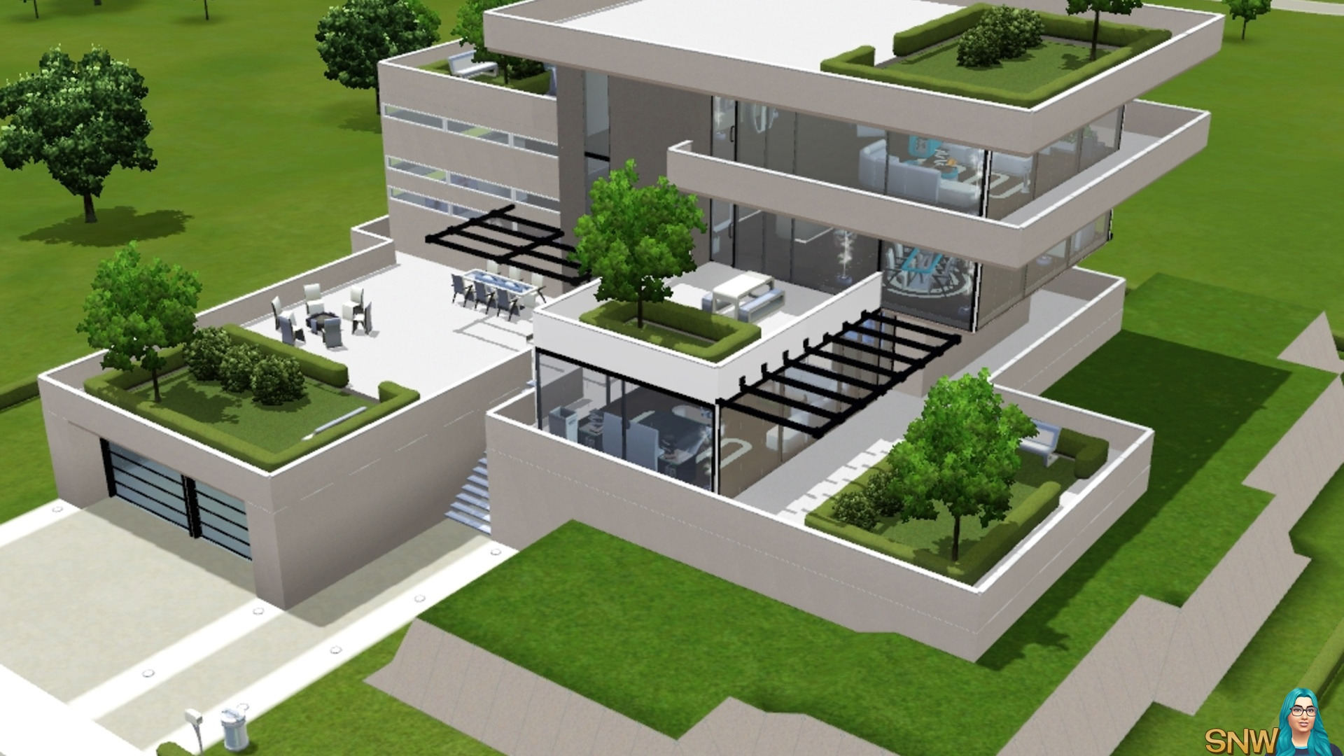 Build modern house sims 3 xbox 360 house modern for Modern home decor big lots