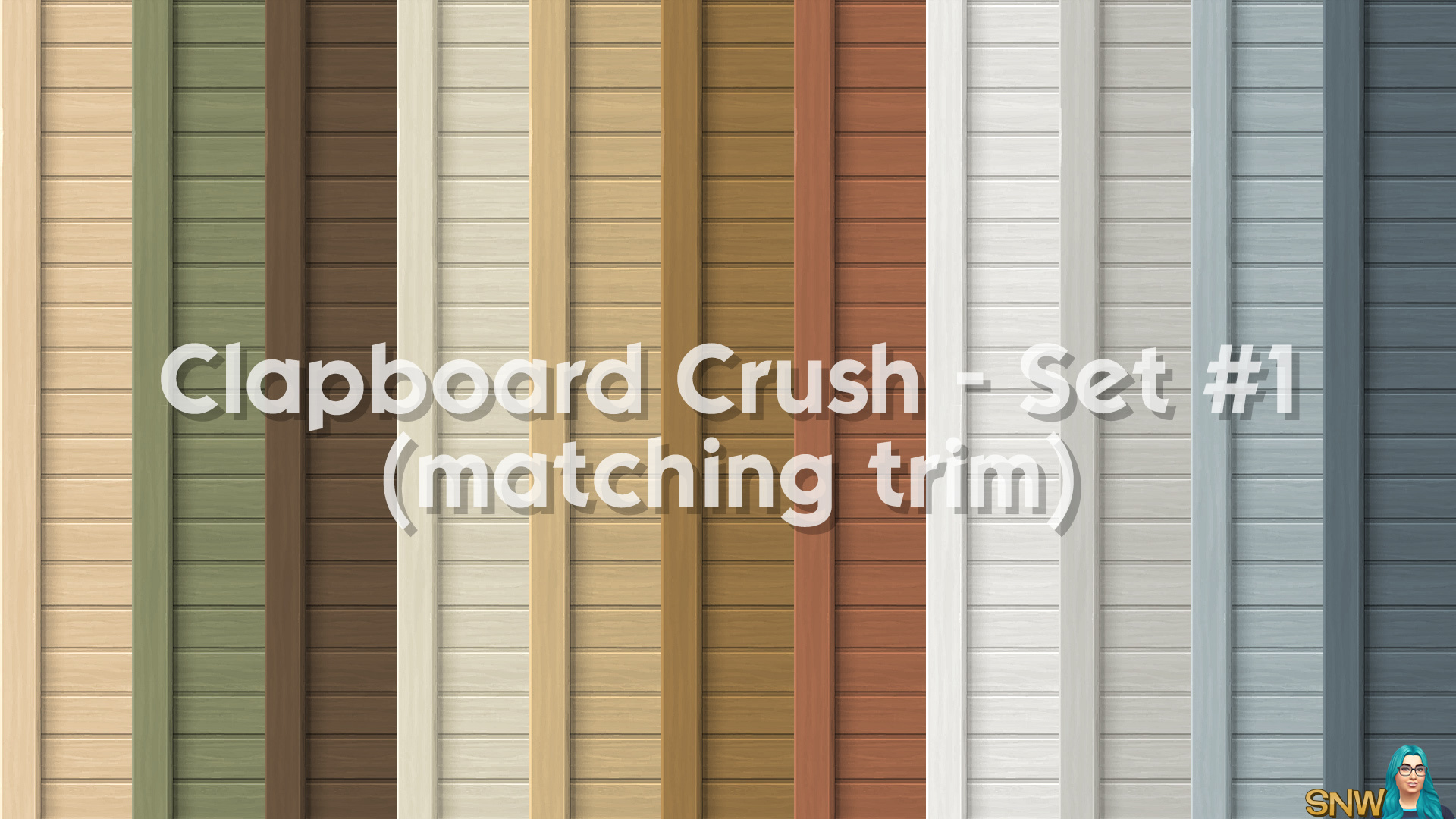 Clapboard Crush Siding Walls Set #1 (with Corner Trim)