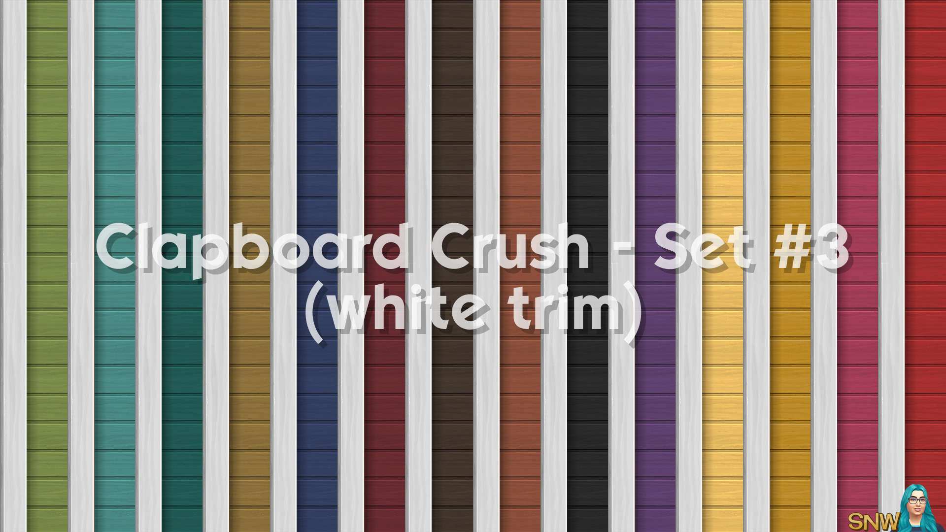 Clapboard Crush Siding Walls Set #3 (with White Corner Trim)