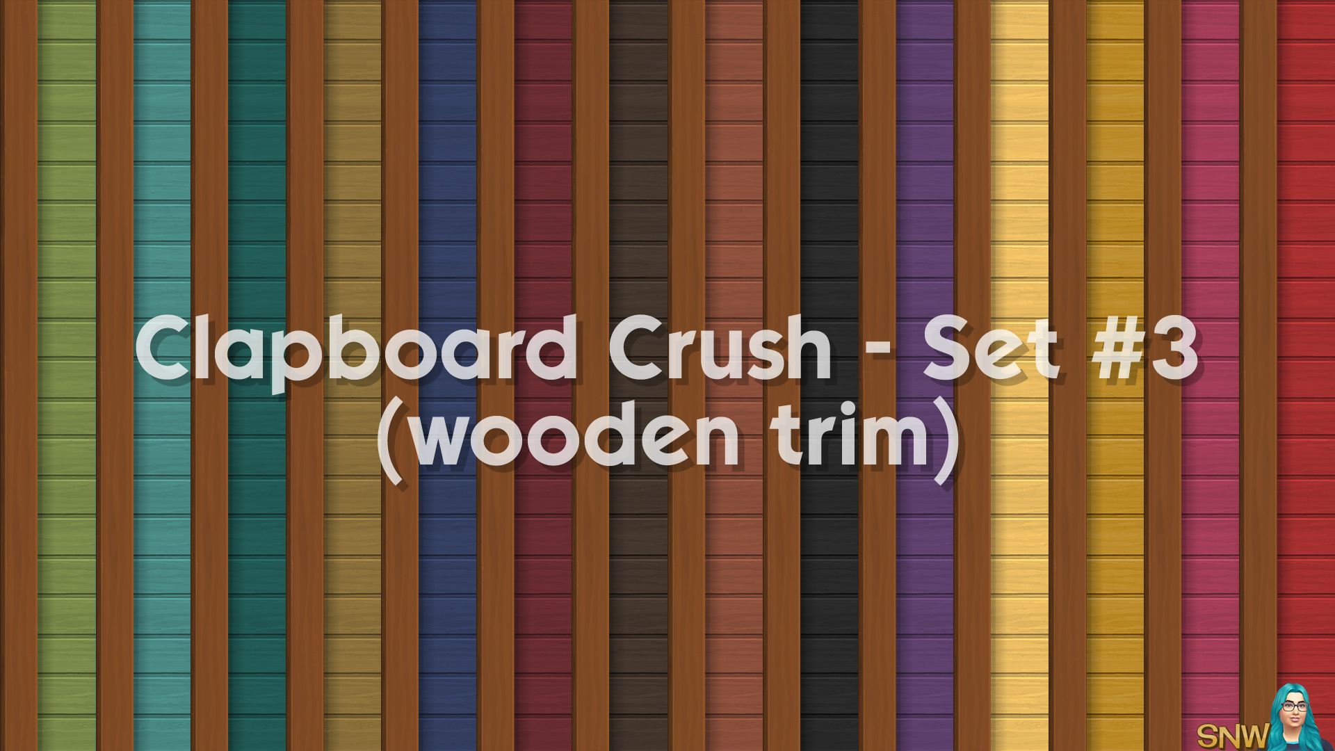 Clapboard Crush Siding Walls Set #3 (with Wooden Corner Trim)