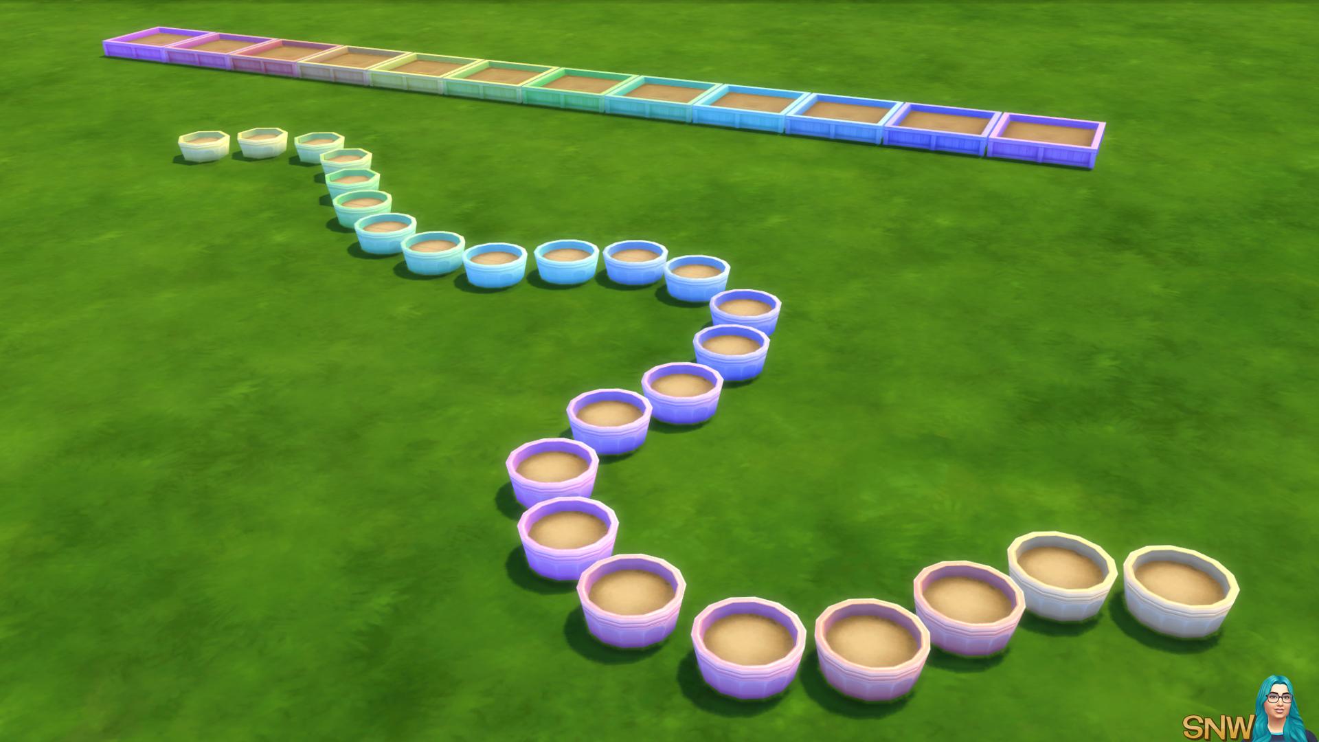 Pastel berry garden planter boxes snw for Garden design sims 4