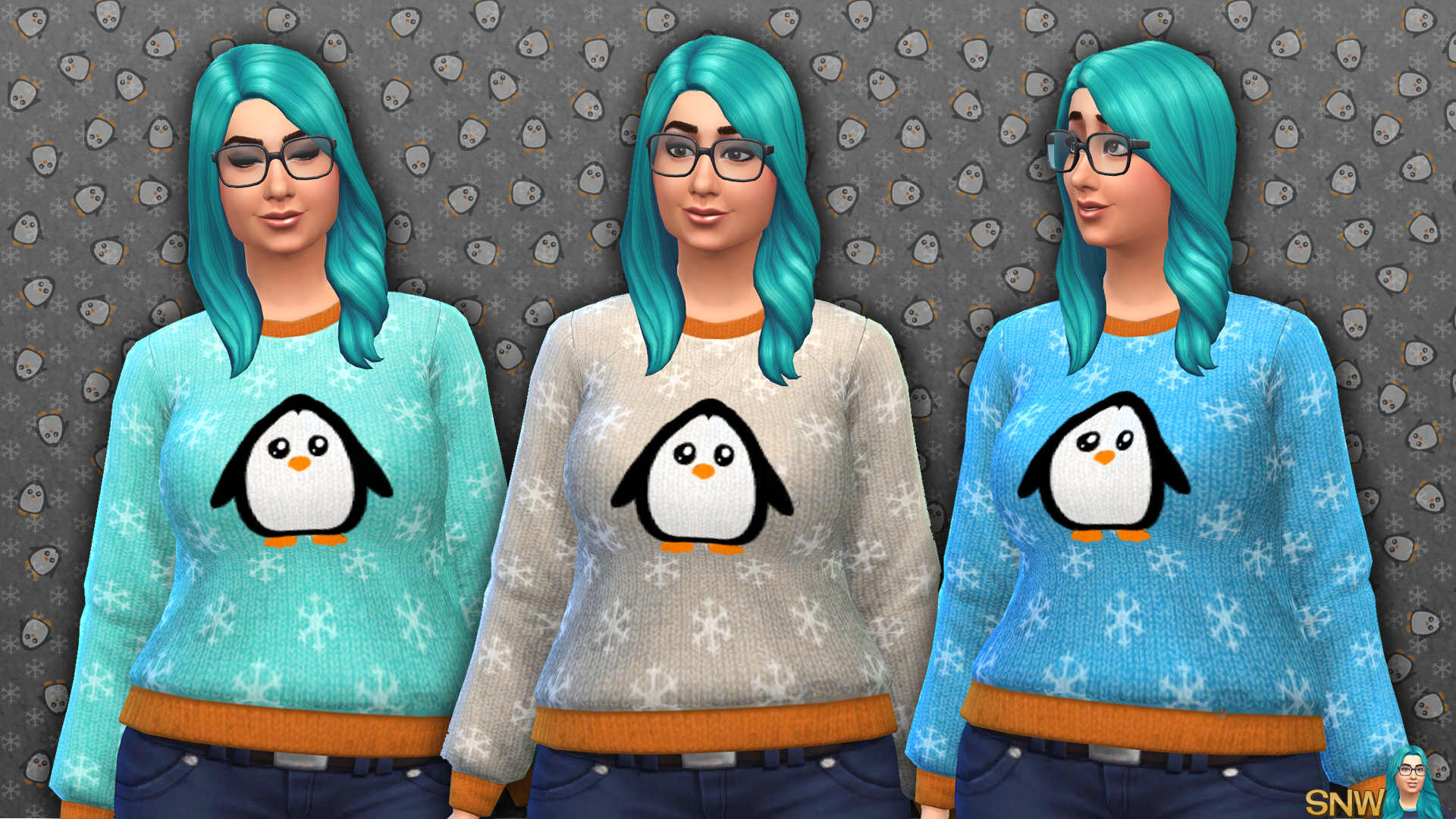 Women's Penguin Print Sweater