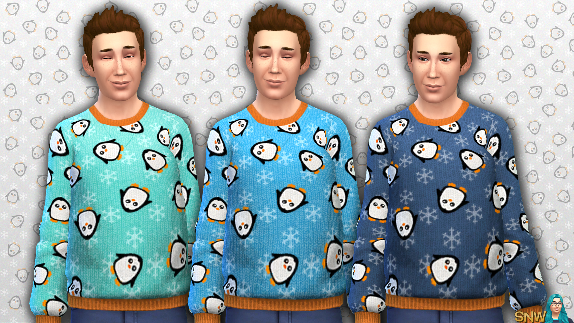 Men's Penguin Pattern Sweater
