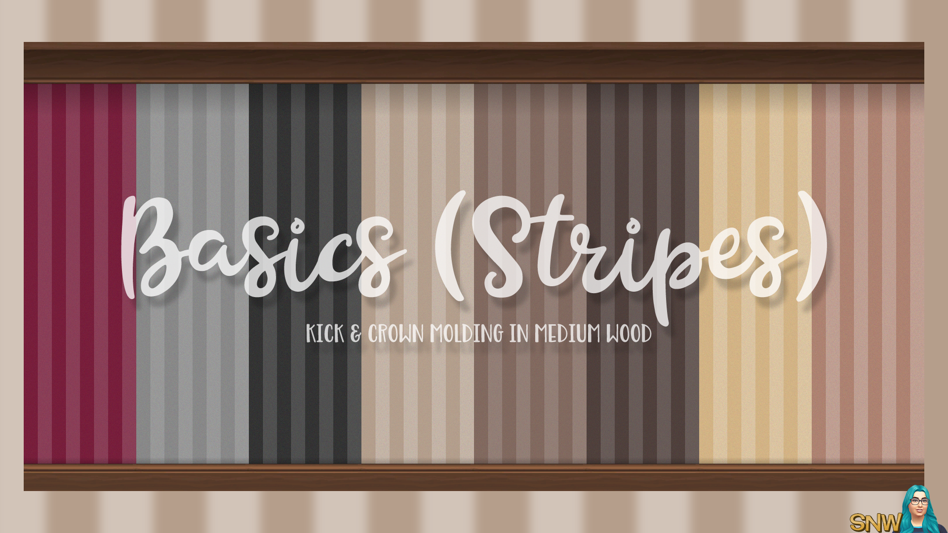 Basics Stripes Wallpaper with Kick and Crown Molding in Medium Wood
