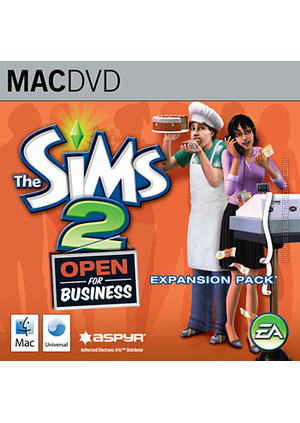 The Sims 2: Open for Business for Mac box art packshot jewel case