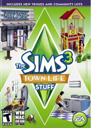 The Sims 3: Town Life Stuff box art packshot US