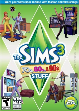 The Sims 3: 70s, 80s & 90s Stuff box art packshot US