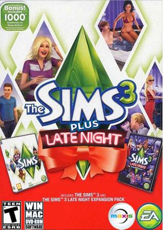 The Sims 3 Plus Late Night packshot box art