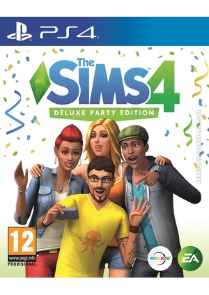 The Sims 4 Deluxe Party Edition on PS4 box art packshot