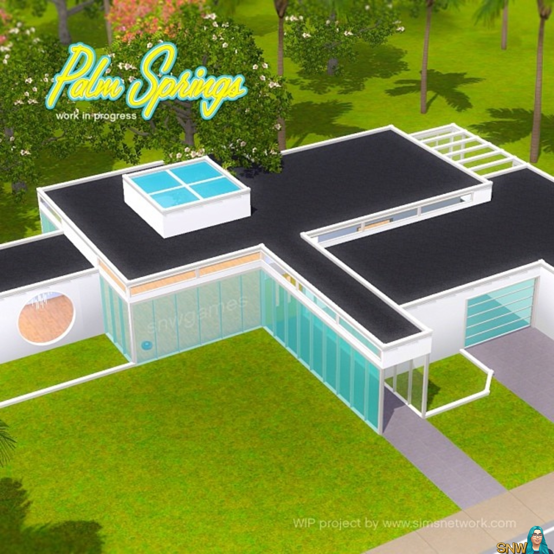 Mid-Century Modern House In The Sims 4