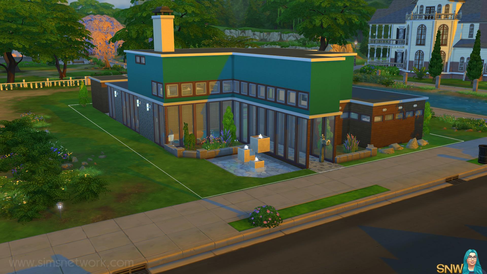 Mid century modern huis in de sims 4 snw for Compleet huis laten bouwen