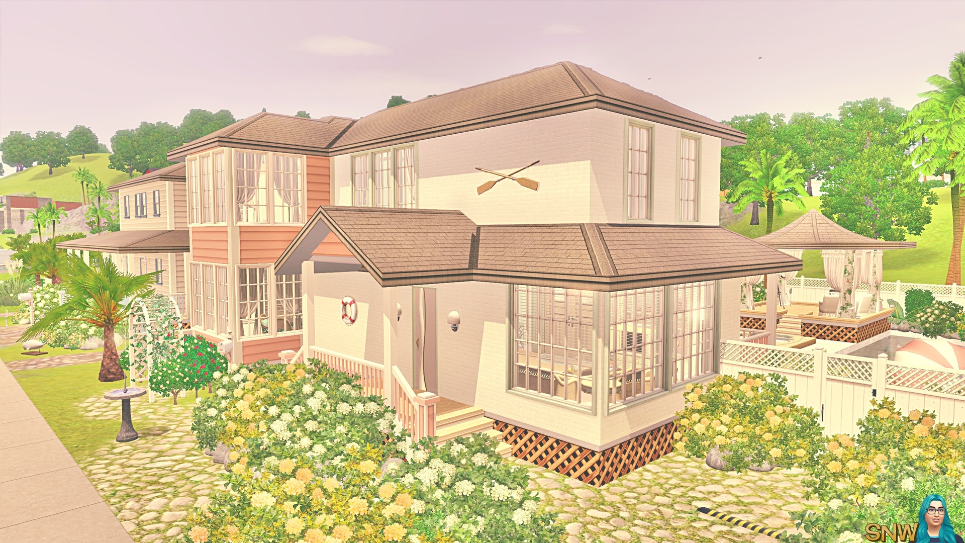 Minty peach beach house snw for Beach house plans sims 3
