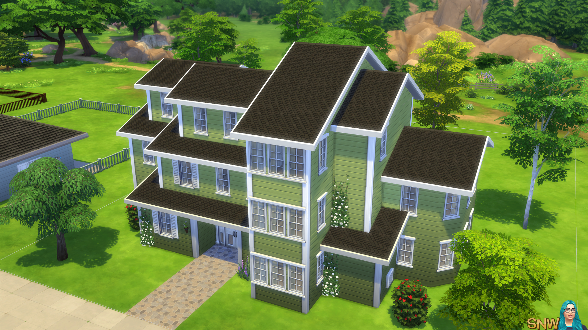 Clapboard crush siding walls set 3 with white corner for Sims 4 exterior design
