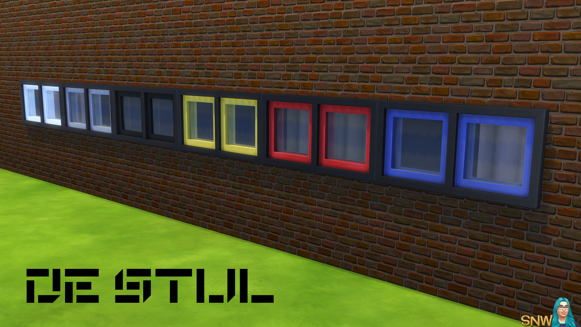 De Stijl Double Square Window 7 Snw Simsnetwork Com