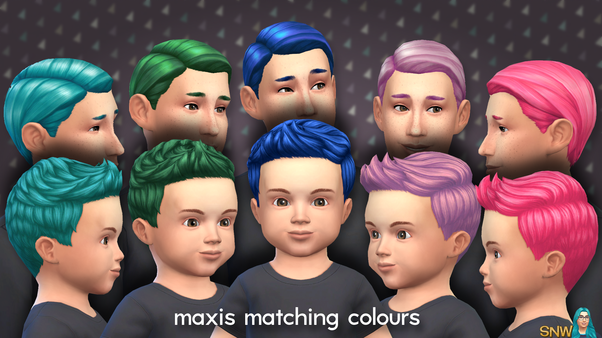 Maxis Matching Short Spiky Hairdo for Toddlers   SNW
